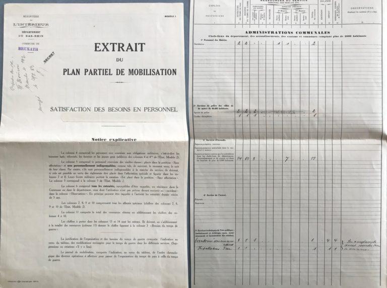 le plan de mobilisation à brumath en 1933