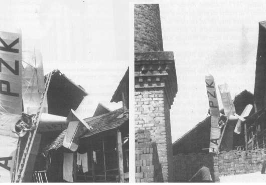 Un avion encastré dans un toit.